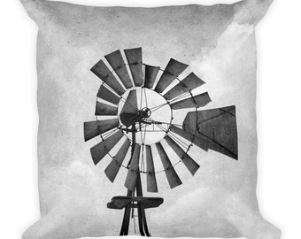 Rustic Country Windmill Black and White Farmhouse Style 18x18 Pillow and Insert Home Decor Square Pillow