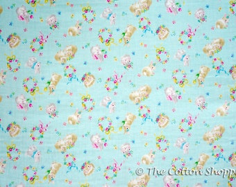 Kokka Water Blur Bunnies Fabric ~ Double Gauze Fabric ~ Japanese Fabric ~ Kids Fabric ~ Quilting Fabric ~ Home Decor Fabric ~ Apparel Fabric