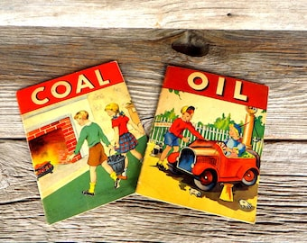Vintage Children's Books Coal and Oil 1940's Children's learning Books Oil Industry Book Coal Industry And History Book Whitman Publishing