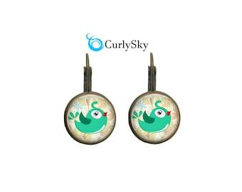 Cyan Earrings Chick Bird Earrings Cyan Color Earrings Cyan Blue Earrings Cyan Bird Earrings Cyan Green Earrings Cyan Bird Dangles Earrings