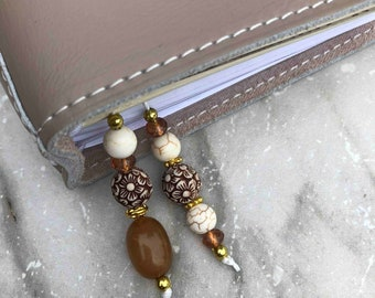 BEADED BOOKMARK for Travelers Notebooks | Planners | Journals | Books BROWN marble with gold accents