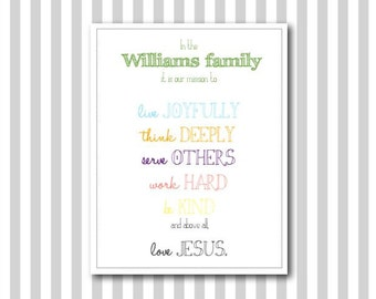 Personalized Christian Family Mission Statement Print - Digital File