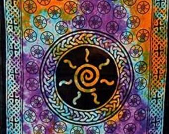 "72""x108"" Celtic Spiral Tye Dye, Tie Dye Spiral Tapestry, Choku Rei (variation) tapestry"