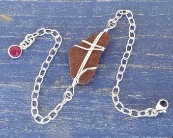 Brown Sea Glass & Sterling Silver Bracelet With Ruby Accent