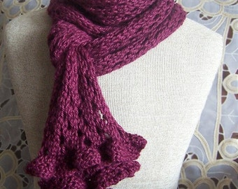 KNIT PATTERN - Romantic Ruffles and Lace Scarf