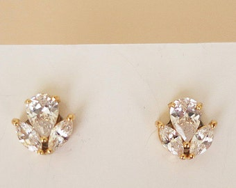 AAA Cubic Zirconia Leaf Bridal Stud Earrings Marquise Drop Crystal Post Gold Wedding Jewelry Gift for Bridesmaids