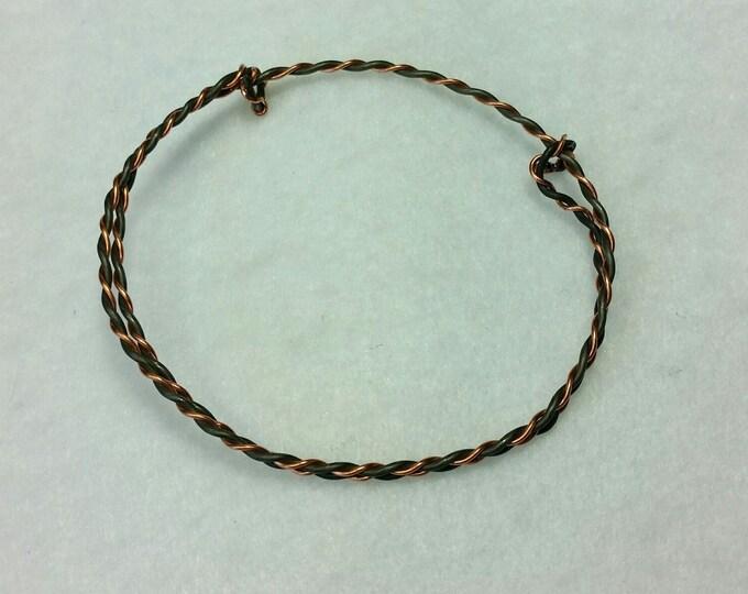 Twisted Wires Adjustable Bangle Bracelet - Unisex Jewelry - Adjustable Bracelet - Bangle Bracelet