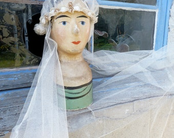 Vintage Antique 1920 Exquisite French  net bridal veil /Wedding  + assorted bonnet adorned with beads & millinery flowers in original box