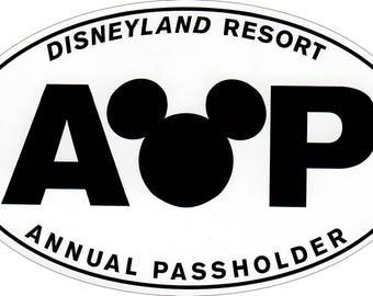 Disneyland AP (Annual Passholder) Vinyl Sticker - NO BACKGROUND