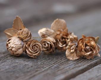 Rose Gold Wedding Hair Comb, Wedding Hair Pins, Gold Wedding Hair Comb, Bridal Flower Clip, Flower Comb, Floral Hair Piece, Wedding Flowers
