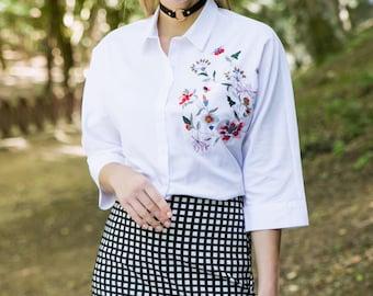 OLIVIA WHITE EMBROIDERED Shirt