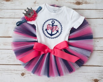 Nautical first birthday outfit 'Avery' pink and navy nautical birthday outfit, first birthday outfit, anchor first birthday tutu set outfit