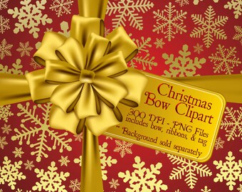 Christmas Clipart, Holiday Clipart, Christmas Bow Graphics