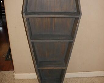 Custom Rustic Handmade Horror Coffin Shelf / Bookshelf / DVD case