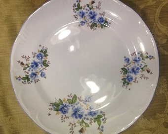 Beautiful Leart Flowered Platter with Royal Blue Stripe On The Rim