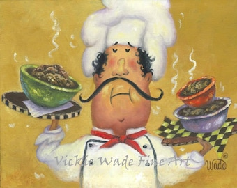 Fat Chefs Art Print, chef wall art funny three bowl chef art kitchen wall decor, chef paintings whimsical, waiter, Vickie Wade ART