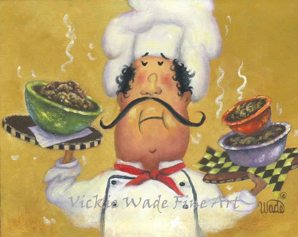 Fat Chefs Art Print chef wall art funny three bowl chef art