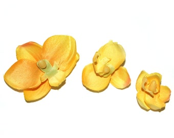 10 Mini Orchids in Yellow - Phalaenopsis Orchid - silk flowers- artificial flowers