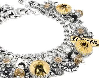 Silver Bee Jewelry, Bee Hive, Honey Comb Jewelry, Honey Bee, Silver Bee Bracelet