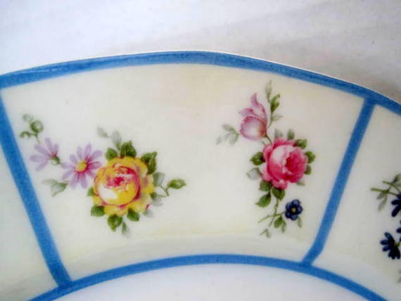 Limoges Plates, Set of 2,  French Floral China, Blue Rim Dish