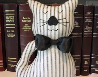 Bow-Tie Stuffed Cat - Black White Striped Fabric Kitty Pillow - Cat Home Decor - Cat Lover Gift - Decorative Cat