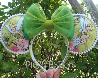 Tinkerbell with a little Pixie Dust Handmade Custom Mouse Ears inspired by Disney