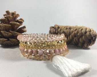 Blush and Gold wrap bracelet with Tassel