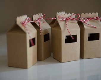10 Kraft Milk Cartons - Candy Cane - Handmade - Candy Boxes/Favour Bags/Party Favours/Kids Party/Wedding Favours/Paper Gift Bags/Gift Boxes