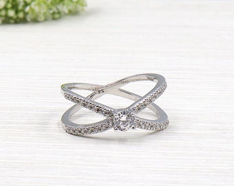 solitaire ring in 925 sterling silver and cubic zirconia cubic zirconia