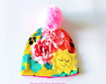 Yellow Spring Colors Knit Jersey Pom Pom Hat with a Sunshine inspired felt patch applique, girls spring and summer fun jersey hat, sun hat