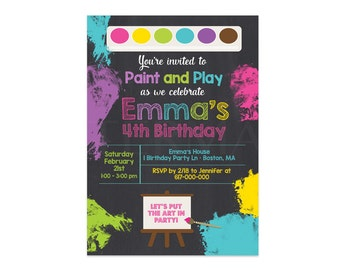 Art Birthday Party Invitation, Paint Party Invitation, Art Birthday Party Invitation  Invite,     378Printable Printable