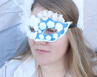 Blue and White hand painted venetian style carnival mask from moonlight masquerade