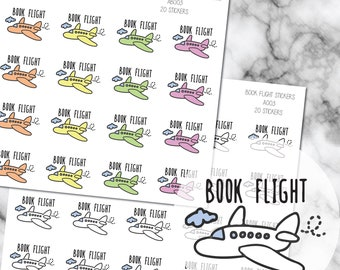 Book Flight | Travel Reminder Planner Stickers Perfect for Erin Condren, Kikki K, Filofax and all other Planners