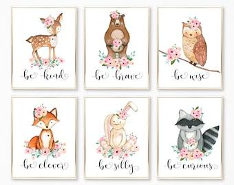 Printable Nursery Art. Pink Peach and Mint Nursery Wall Art. Baby Decor. Woodland Nursery Decor. Be Kind, Be Brave. Forest Animals Nursery.