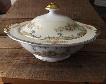 Vintage Meito China, Large Serving Bowl, Covered Serving Bowl, Floral Serving Dish