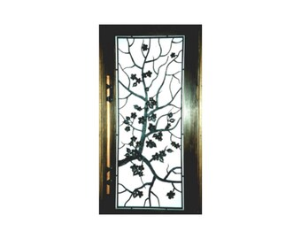 Forged sakura branches on the door