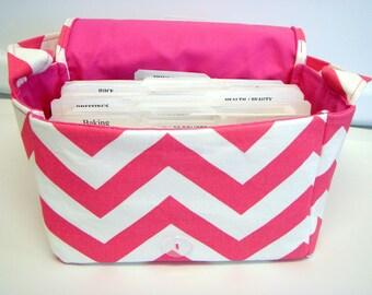"""Große 4"""" Größe Gutschein Organizer / Budget Organizer Halter Box - wird in den Warenkorb legen - heiße rosa und weißen Zick-Zack-Chevron"""