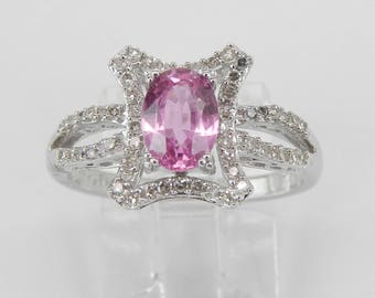 Diamond and Pink Sapphire Engagement Ring 14K White Gold Size 7 Unique Design