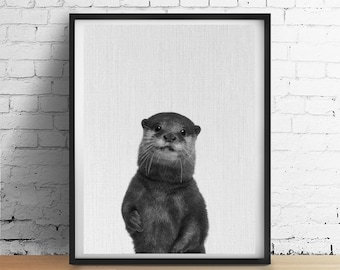 Printable Art OTTER Print, Nursery Baby Animals Wall Art, Black and White Photograph Poster, Otter Printable, Baby Shower Gifts Download