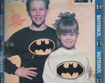 ON SALE On Sale - 1980s Batman Sweatshirt and Transfers Size 2-6 & 7-14 Butterick Dress Pattern No 985 Uncut, Factory Folded