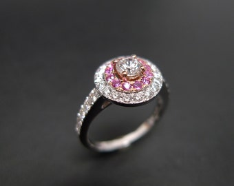 Diamond and Pink Sapphire Engagement Ring, Diamond Engagement Ring, Diamond Wedding Band, Diamond Ring, Diamond Band, Pink Sapphire Ring