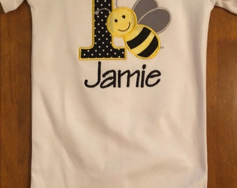Black and Yellow Bumble Bee Embroidered Birthday Baby Bodysuit or Shirt