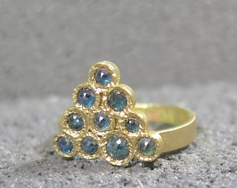 Blue diamond ring-wedding ring- 14k gold ring-14 k yellow gold diamond ring-triangle ring-round blue diamond ring-Made to order