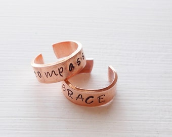 Customized Personalized Hand Stamped Copper Adjustable Ring You Choose Your Word Expandable Copper Ring ~ Hope Grace Compassion Your CHOICE
