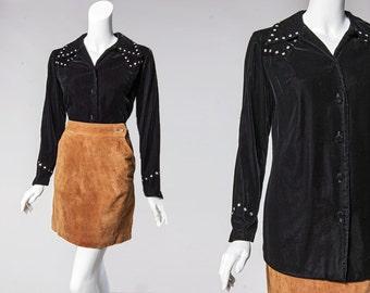 90s black velvet western shirt with rhinestone yoke detail   size medium