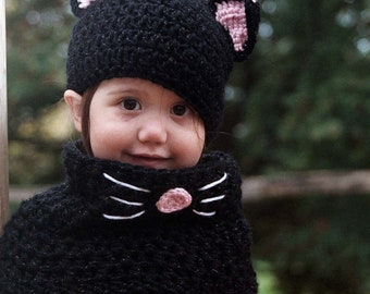 Black Cat Hat and Cowl Set