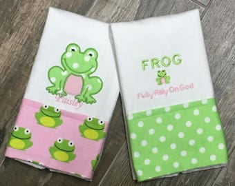 Two F.R.O.G Embroidered Personalized Burp Cloths, Pink,  F.R.O.G. (Fully Rely On God) Burp Cloth, Boutique Burp Cloth, Baby Shower Gift