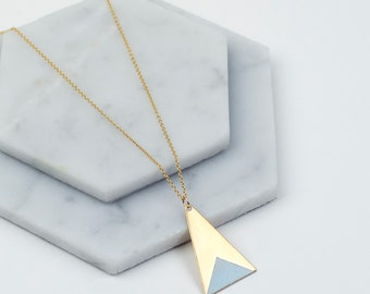 Long Brass Triangle Necklace (Blue) - Modern Handmade Geometric Minimalist Jewellery