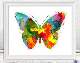 Butterfly watercolor print - Woodland nursery - butterfly watercolor- colorful wall art