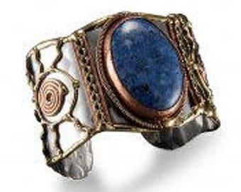 Lazurite Bracelet, Mixed Metal Cuff Bracelet, Brass Copper Bracelet, Nickel Free Bracelet, Handmade, Boho Chic
